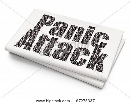 Health concept: Pixelated black text Panic Attack on Blank Newspaper background, 3D rendering