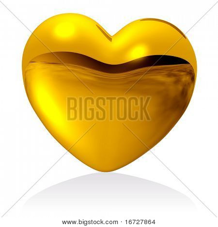 Golden heart (isolated).  See more hearts in my portfolio.
