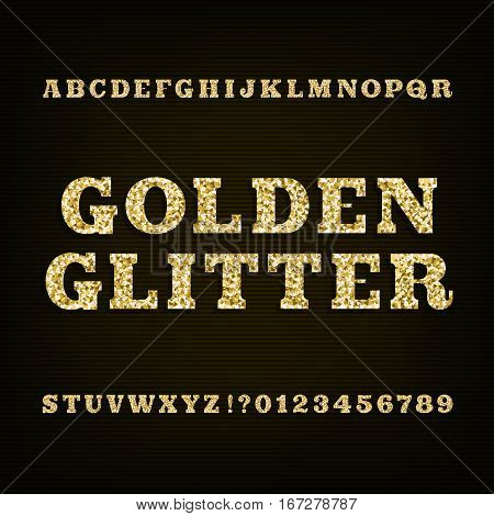 Golden glitter alphabet font. Slab serif letters numbers and symbols. Stock vector typeface for your design.