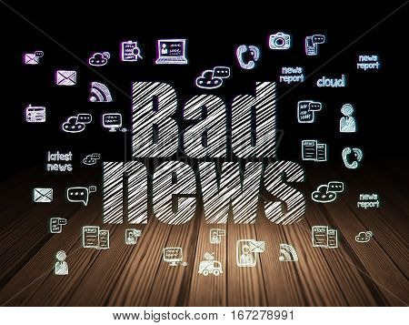 News concept: Glowing text Bad News,  Hand Drawn News Icons in grunge dark room with Wooden Floor, black background