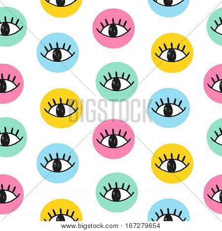 Vector hand drawn eye doodles in colorful circles. Seamless pattern in blue, yellow, coral and mint colors. Modern website backdrop, wallpaper, textile print design. Minimal scandinavian style