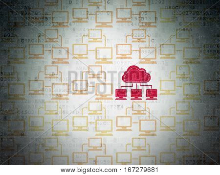 Cloud technology concept: rows of Painted yellow lan computer network icons around red cloud network icon on Digital Data Paper background