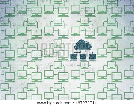Cloud networking concept: rows of Painted green lan computer network icons around blue cloud network icon on Digital Data Paper background