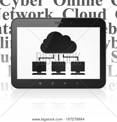 Cloud technology concept: Tablet Computer with  black Cloud Network icon on display,  Tag Cloud background, 3D rendering