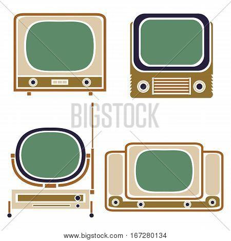 Old TV. Vintage Vector Set. Retro Apparatus
