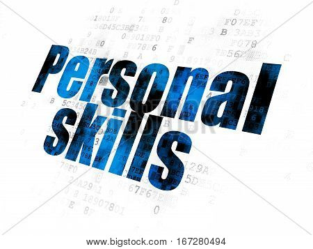 Education concept: Pixelated blue text Personal Skills on Digital background