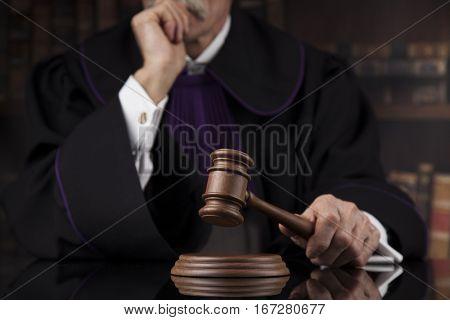 Courtroom, Judge, male judge in black mirror background