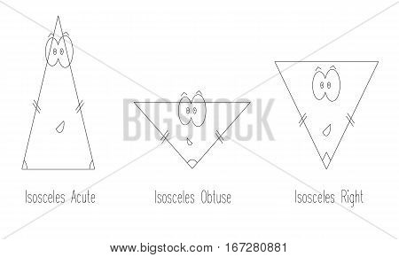 types of isosceles triangle vector - geometry shapes for kids
