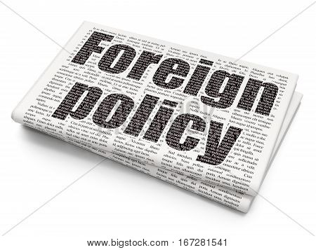Political concept: Pixelated black text Foreign Policy on Newspaper background, 3D rendering