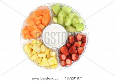 isolated top view fruit platter with dip