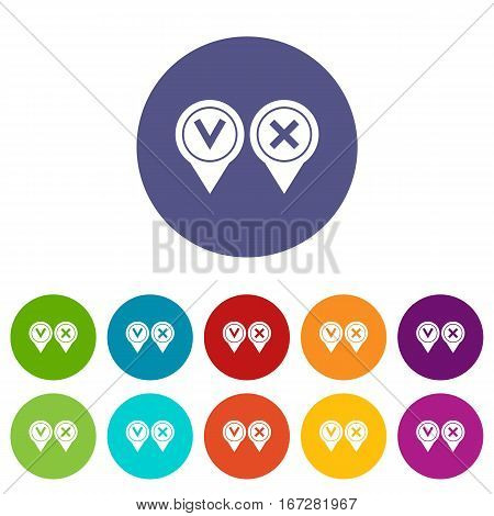 Tick affirmative and negative set icons in different colors isolated on white background