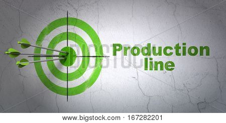 Success Industry concept: arrows hitting the center of target, Green Production Line on wall background, 3D rendering