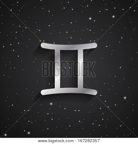Gemini zodiac symbol silver zodiac icon on the background of black starry sky