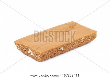 Toffee confection bar isolated over the white background