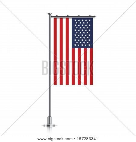 United States of America vector banner flag hanging on a silver metallic pole. Vertical USA flag template isolated on a white background.