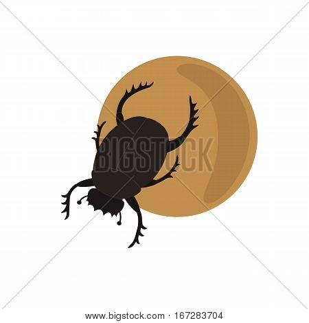 Scarab on a ball vector illustration for children isolated on white background