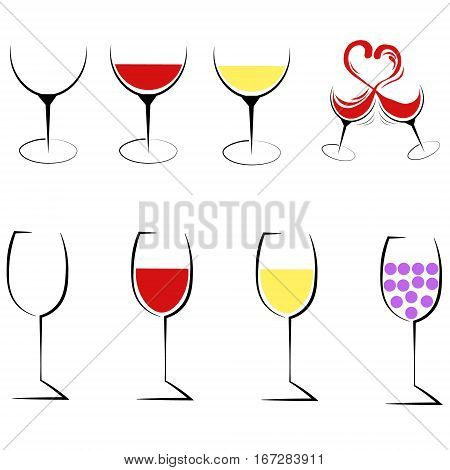 Eight wine glass logo icon set red white wine