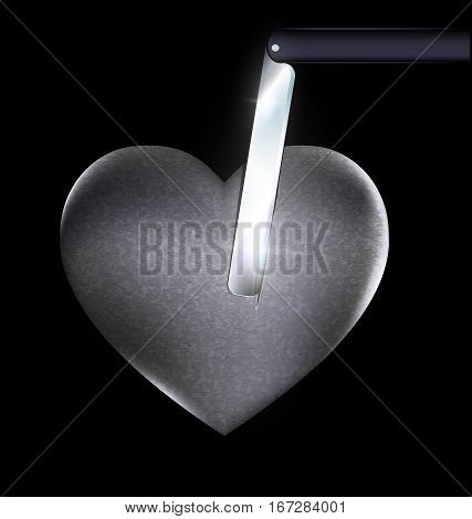 dark background and the stone hurt heart with blade inside