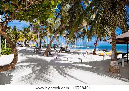 SAN PEDRO, BELIZE-DEC 18, 2015: Beautiful  caribbean sight with turquoise water on Dec 18, 2015 in San Pedro island, Belize.