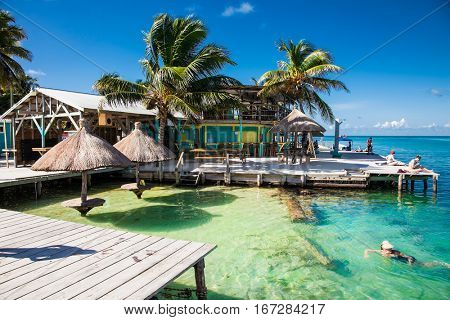 CAYE CAULKER BELIZE - DEC 17 2015: Beautiful  caribbean sight with turquoise water in Caye Caulker island, Belizee on Dec 17. 2015 ,