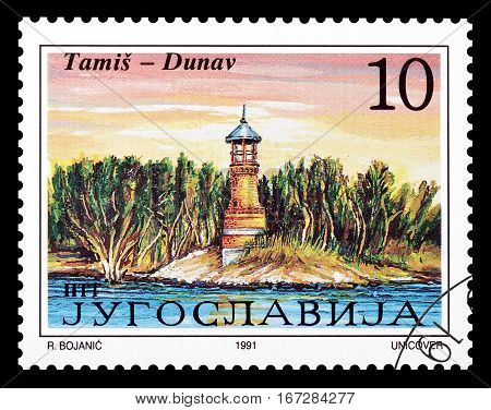 YUGOSLAVIA - CIRCA 1991 : Cancelled postage stamp printed by Yugoslavia, that shows  Lighthouse Tamis.