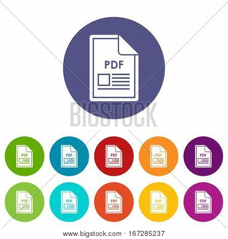 File PDF set icons in different colors isolated on white background