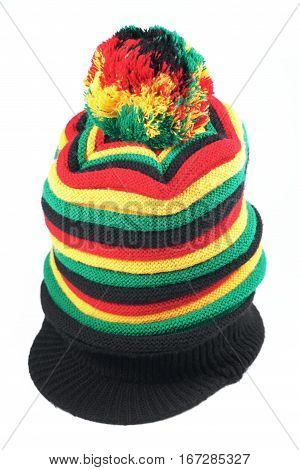 Rastafarian hat isolated on a white background