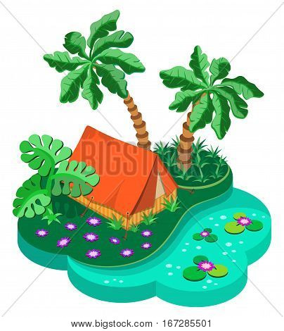 Camping on a tropical island. 3D isometric view. Vector illustration.