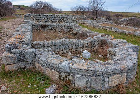 Ruins of ancient basilica basement in Chersonesus Tauric archaeological park in Sevastopol, Crimea