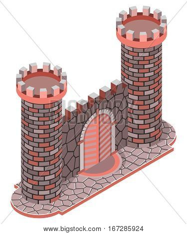 Medieval stone castle, gate and towers. 3D isometric view. Vector illustration.