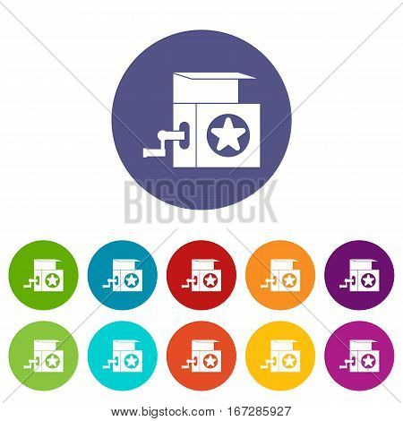 Music box set icons in different colors isolated on white background