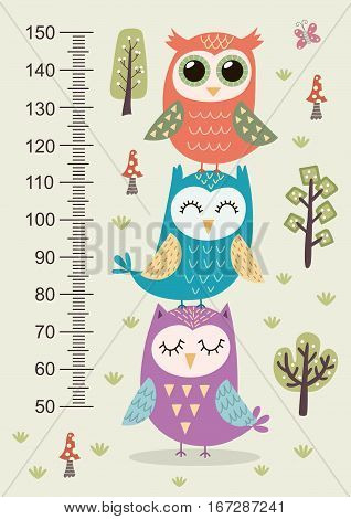 Kids height meter with cute owls. Funny stadiometer from 50 to 150 centimeter. Vector illustration