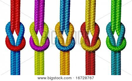 Varicolored ropes with knot on white background (isolated).