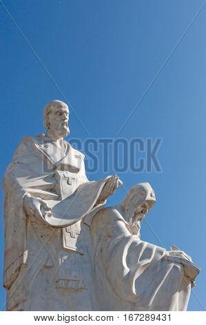 Sculpture of Saint Cyril and Methodius, first Slavic alphabet inventors