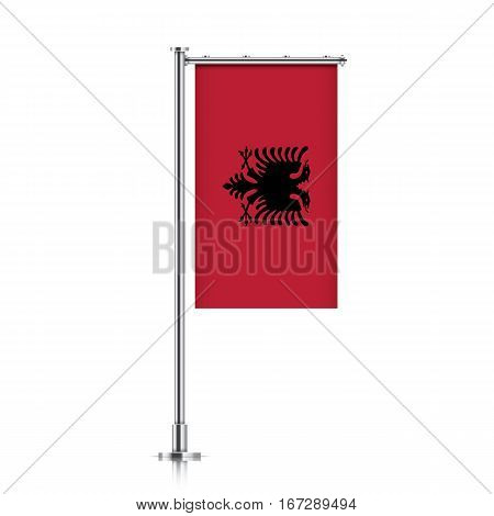 Albania vector banner flag hanging on a silver metallic pole. Vertical Albania flag template isolated on a white background.