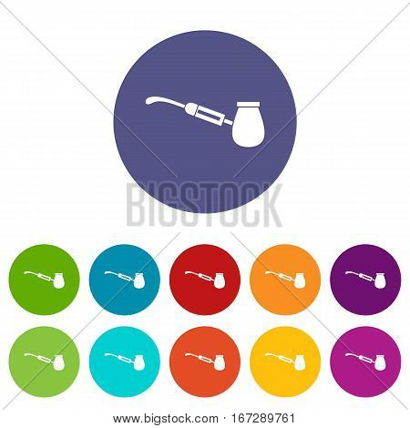 Electronic cigarette with nozzle set icons in different colors isolated on white background