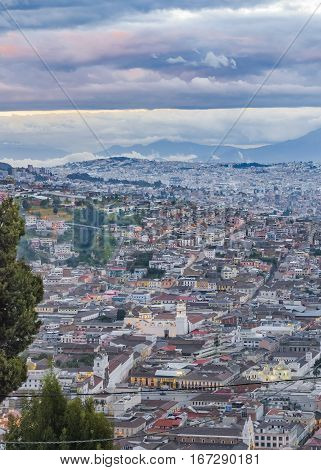 Aerial View Of Quito From Panecillo Viewpoint