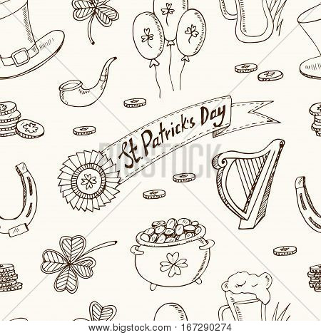 St. Patrick's Day seamless pattern with Irish music, pub decoration, rainbow, flags, beer mugs, clover, leprechaun hat, pot of gold coins. Vector illustration