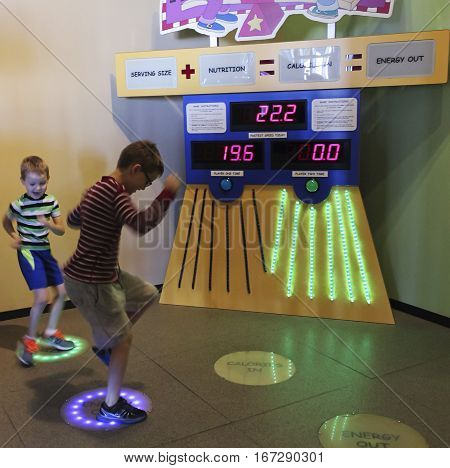LAS VEGAS, NEVADA, DECEMBER 29. The Discovery Children's Museum on December 29, 2016, in Las Vegas, Nevada. A Pair of Boys Learn About Calories and Energy at the Discovery Children's Museum in Las Vegas Nevada.