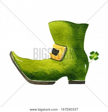 Shoe Leprechaun. Watercolor illustration on white background