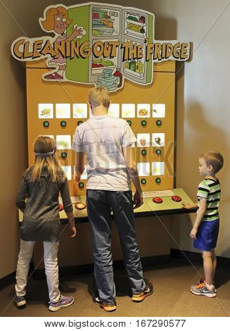 LAS VEGAS, NEVADA, DECEMBER 29. The Discovery Children's Museum on December 29, 2016, in Las Vegas, Nevada. A Trio of Kids Learn About Food Groups at the Discovery Children's Museum at the Discovery Children's Museum in Las Vegas Nevada.