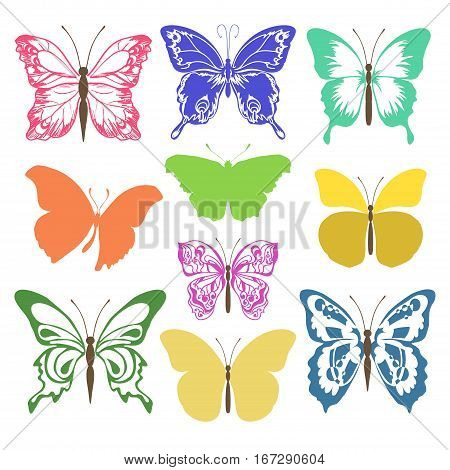 Set of different forms butterflies. Multicolored silhouettes butterflies. Vector illustration