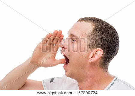 man crying loudly portrait on a white background