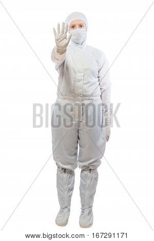 Chemist Woman In A Suit Showing Gesture Stop