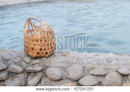 Egg in bamboo basket at Sankampang hot spring Chiang Mai Thailand.