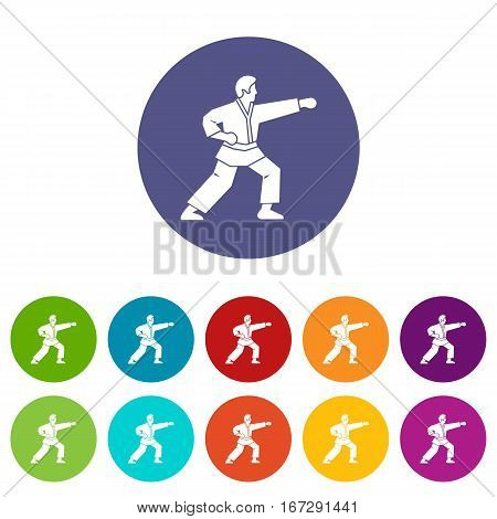 Aikido fighter set icons in different colors isolated on white background