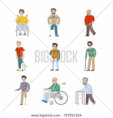 Isolated disabled set on white background. Men with disability. People with wheelchair, crutches and sticks.