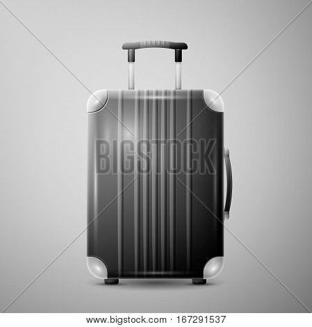 Large polycarbonate suitcase isolated on light background