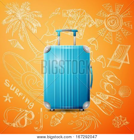 Large polycarbonate suitcase isolated on color background and hand draw tourist icon