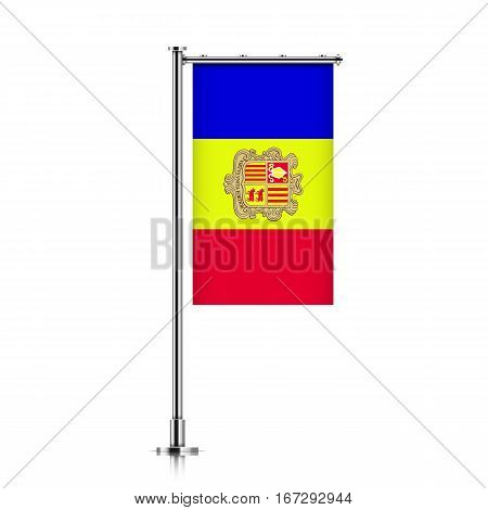 Andorra vector banner flag hanging on a silver metallic pole. Vertical Andorra flag template isolated on a white background.